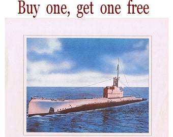 Buy one and get one free - Vintage War Submarine Print - H.M. Submarine - Shark Class - Military Boat - WWII