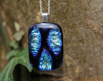 Silver, black and blue dichroic glass pendant  ,  dichroic glass necklace, fused glass pendant, silver and black necklace, birthday gift