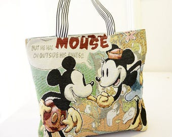 Mickey Mouse Canvas Bag. Large Tote Bag.Travel Tote Bag.Shopping Tote Bag.Minnie Mouse Bag.Beach Bag.Diapers Bag.Mickey Lovers Gift.