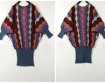Handmade 80's vintage batwing sleeve wool sweater dress