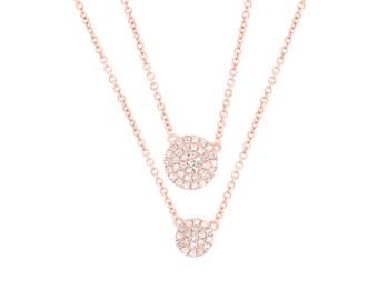 14K Rose Gold Diamond 2 Circle Disc Double Chain Pendant Necklace