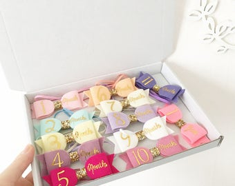 Milestone bows. Monthly picture cards. Hair accesories. Baby, newborn, girls child headbands or clips. Baby shower gift.