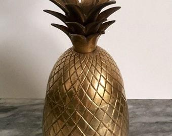 "Glam Hollywood Regency Brass Pineapple Candle Holder Trinket Box 7 3/4"" Tall"