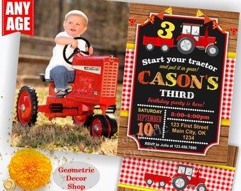Tractor Birthday Invite, Tractor Invitation, Tractor Birthday Invitations, Tractor Invites, Woodland, Digital File, Red Plaid Boy Girl BDT24