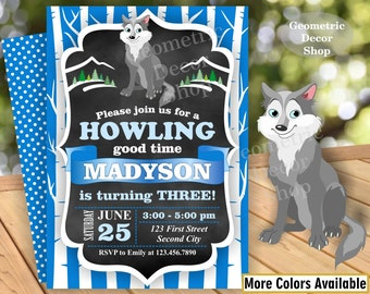 Lumberjack Birthday Party Invite Wilderness Blue Lumber Jack Invitation Rustic Great Wolf Lodge Boy Girl Over the river through woods BWDL10