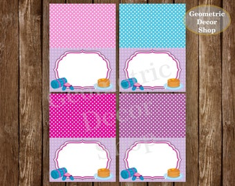 Pancake Food Tent Labels Birthday Buffet Name Dinner Purple Pink teal Sleep Instant Download Slumber Party Sleepover Pajamas PJ's FTSO1