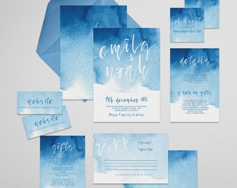 Brushed Printable Wedding Invitation Suite . Wedding Invitation, Printable Invite, DIY Wedding Invitation, blue, white, watercolor, paper