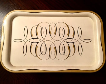 Gold and Black Scroll Serving Tray