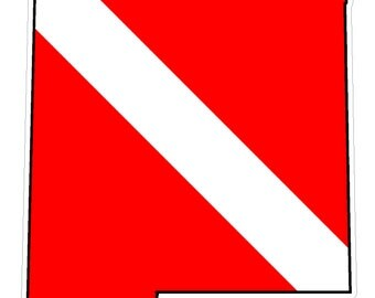 New Mexico State (Y32) Diver Down Flag Vinyl Decal Sticker Car Laptop/Netbook