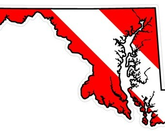 Maryland State (B21) Diver Down Flag Yeti Tumbler Decal Sticker Laptop
