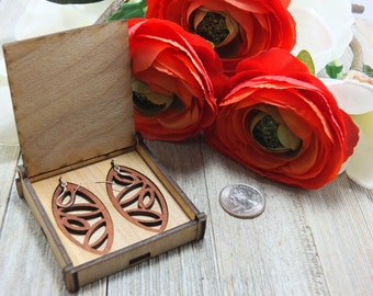 Laser cut wood earrings #3