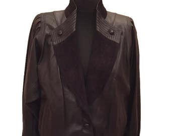 80s Black Leather Batwing Jacket with Suede