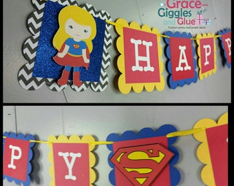 Glitter Super Girl Inspired Happy Birthday Banner, Super Girl Name Banner