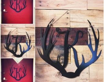 Metal monogram antler sign