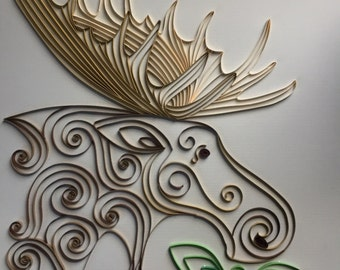 Handmade Quilled Paper Moose Art