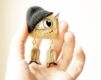 Brooch Bird Hipster girl, Animal brooch, Paper mache jewelry, Cool brooch, Christmas SALE