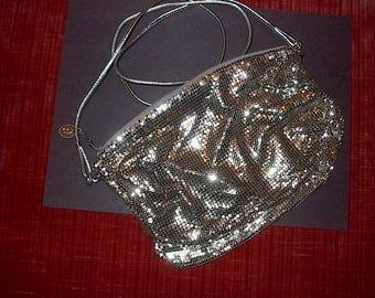 VINTAGE Evening Bag ( WHTING & DAVIS )  Silver Shoulder Strap