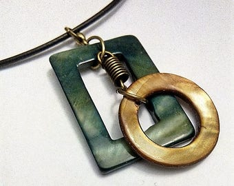 Mother of Pearl asymmetrical graphic pendant