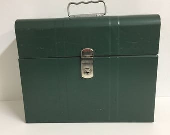 Vintage File Box/ Vintage Metal file Box/ Vintage Hamilton Metal File Box/ Vintage Green Metal File Box
