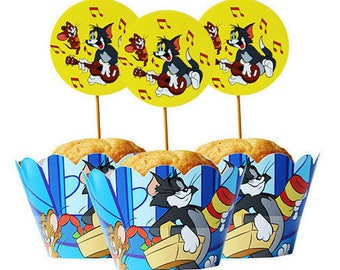 24 Pcs/Set Tom and Jerry Cartoon Cupcake Wrappers and Toppers