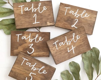 Wedding table numbers, wood table numbers, rustic table numbers, Cursive Table Numbers, Wood Table Numbers, Calligraphy Table Numbers