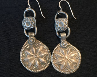 Vintage Earring. Afghani Tribal earring-Statement Earring-vintage Ethnic Middle Eastern Earring