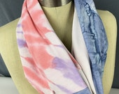 Women's Equal Rights Infinity Scarf, Pink Anti-Racist Handmade OOAK Cotton Upcycled Blue n Coral New York Statue of Liberty t shirt scarf