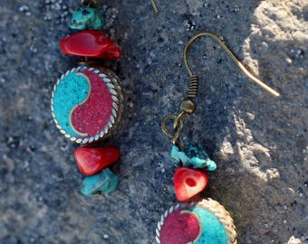 Turquoise and Red Coral Yin Yang Earrings