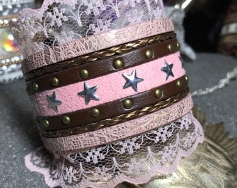 Victorian cuff, pink and Brown, pink lace