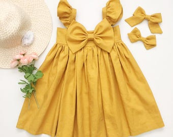 Honey Mustard Linen !!! (Hair Bow Not Included)