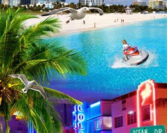 Miami Beach Collage Beach Towel
