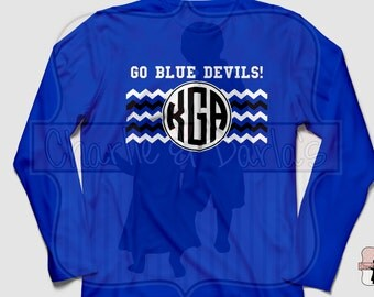 Duke Blue Devils Inspired Long Sleeve Shirt - Monogram Shirt - Monogram T-Shirt - Monogram TShirt - Personalized Shirt - Monogram Tee
