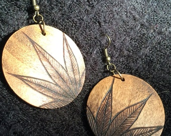 Large Wooden Earrings, Lightweight Round Dangle Earring, Wood Burned, One of A Kind, Hypoallergenic, Nickel Free - Feather
