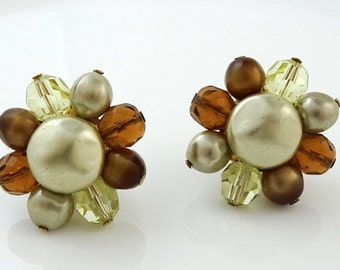 Vintage Richelieu Earrings Clip-On Cluster Brown and Amber Colored Stones