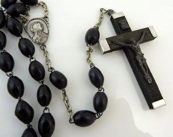 Vintage Rosary Black Wood Beads Italy