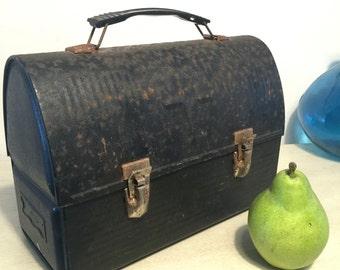 Vintage Victory Black Lunchbox American Thermos Company Storage Decor 1950s