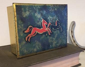 Vintage Metal Storage Tin Horses West Germany 1960s