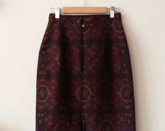 Vintage 80s 90s tapestry aztec pattern pencil skirt wool mix winter Small UK 6 - 8