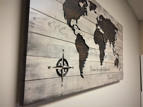 World Map Wood Wall Art pallet map wood wall art carved world map quote sign