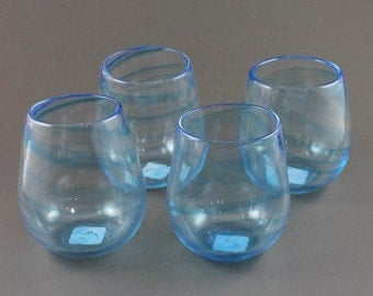 Set of Four Hand Blown Wine Glasses
