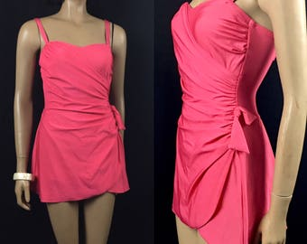 Vintage 1960s Swimsuit Roxanne Women's Size Small 32 C Cup Pink One Piece Bathing Suit Sarong Skirt Bombshell Pinup ILGWU Label