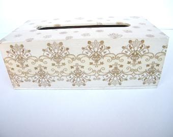 Tissue box cover, white pearl and gold tissue holder, wooden napkin holder, shabby chic box, handmade decorated, kleenex cover,gift for home