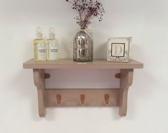 Hand made rustic vintage style shabby chic cottage shelf with 3 hooks