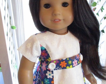 """60's Blue and White Doll Dress to fit your 18"""" American Girl Doll"""