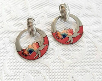 SALE! BEAUTIFUL Cloisonne Vintage Flower Earrings-Floral-Silver-Red-Magenta-Circle-Hoop-All Orders Only .99c Shipping!