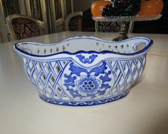 BLUE and WHITE PIERCED Bowl