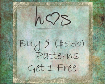 Bulk Pattern Discounts - Buy 5 (5.50) Patterns and Get 1 Free