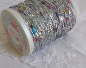 20 yards Tiny SILVER Tinsel Trim, Yarn, String, with Tiny Sequins, Christmas Miniatures, Trees, Crafts, Gifts, Scrapbooking, Metallic
