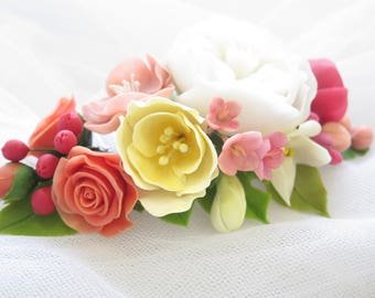 Bridal flower comb - Spring blossom hair comb - Wedding flower comb - Rose blossom comb. Flower comb. Bridal comb. Flower hair accessory