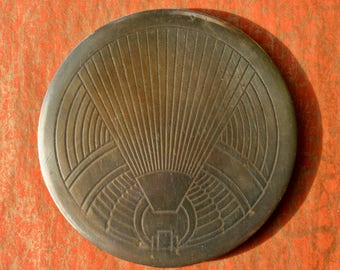 Vintage Cleff of London Brass Powder Compact Art Deco 1920s 1930s